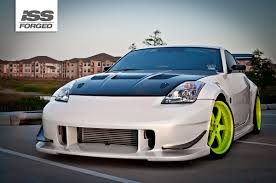 white nissan 350z modified nissan 350z on iss forged fs 6r iss forged handcrafted for