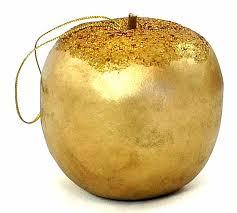 box of 6 gold glitter apple ornaments ornaments