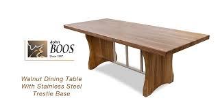 trestle base dining table john boos walnut dining table with stainless steel trestle base