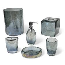 Glass Bathroom Accessories by Veratex Cracked Blue Glass Bathroom Accessories Collection Free