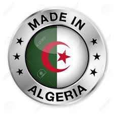 Algerian Flag Made In Algeria Silver Badge And Icon With Central Glossy Algerian