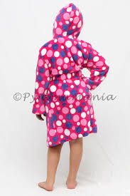 pyjamas girls fleece hooded dressing gown sz 0 2 pink polka