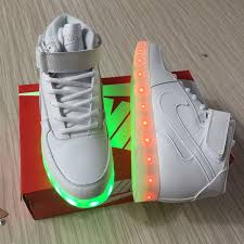 Nike Light Mens Nike Air Force One High Light Up Shoes All White 36 45 Outlet