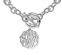 silver monogram necklace keti sorely designs sterling silver monogram necklace on toggle