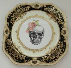 halloween serving tray back in stock black and gold skull halloween plate 7 5