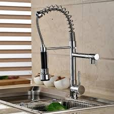 aliexpress com buy chrome spring pull down kitchen faucet dual