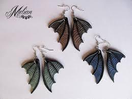 bat wing earrings dragon wing earrings wing earrings polymer