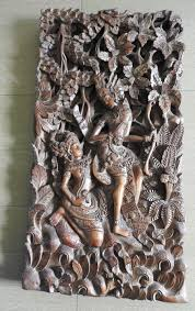 3d wood carving panel with rama and sita bali indonesia