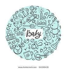 doodle with set baby newborn doodle stock vector 633745724