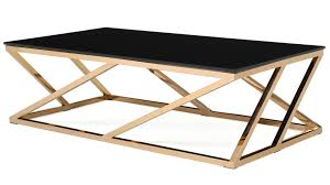 modern rose gold and black glass geo coffee table zuri furniture