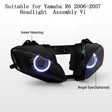 kt headlight for yamaha yzf r6 2006 2007 led angel eye motorcycle