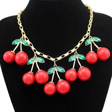 collar bib necklace images Statement 10 big red cherry pendant gold box chain crystal choker swee jpg