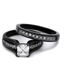Wedding Rings Sets His And Hers by 3 Ring Set Black U0026 Silver White Cz His U0026 Hers Women U0027s Engagement