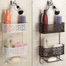 Shower Storage Ideas by Plated Steel Lace Hanging Shower Caddy Lace Hanging Shower