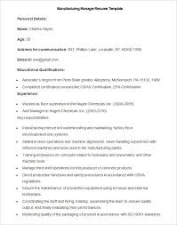 Reference Resume Sample by Manufacturing Resume Samples Gallery Creawizard Com