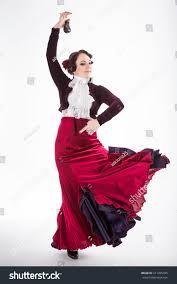 beautiful brunette female spanish flamenco dancer stock photo