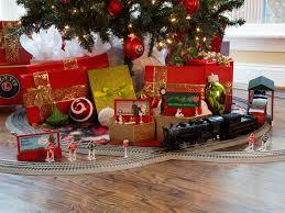 train around the christmas tree christmas lights decoration