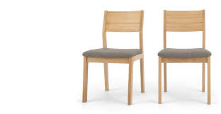 2 x luka dining chairs manhattan grey and oak made com
