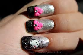 hello kitty 3d ribbon nail art design by psycho princess on