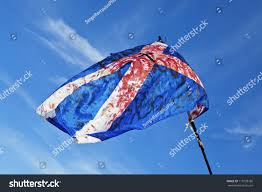 Blood Stained Flag Blood Stained Torn Scottish Flag Waving Stock Photo 113728186