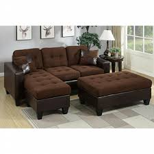 Microfiber Fabric Upholstery Poundex 2 Pc Daryl Collection 2 Tone Chocolate Microfiber Fabric