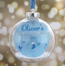 Personalised Baby S First Christmas Decoration by Personalised Baby U0027s First Christmas Bauble By The Little Paper