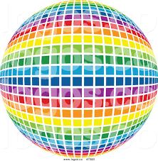 royalty free clip art vector logo of a rainbow disco ball sphere