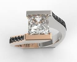 unique gold engagement rings princess cut two tone gold engagement ring vidar jewelry