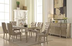 Mirrored Dining Room Furniture Mirrored Dining Table Chagne Finish