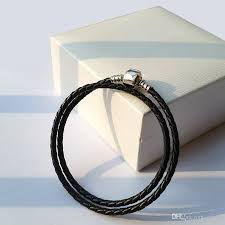 sterling silver leather bracelet images Fashion womens 925 sterling silver real black double layer leather jpg