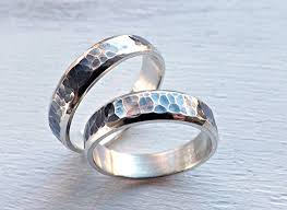 commitment ring rustic wedding ring set silver wedding bands