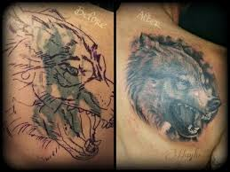 collection of 25 wolf howl mirror and anchor tattoos