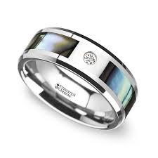 8mm diamond of pearl men s diamond wedding ring in tungsten 8mm