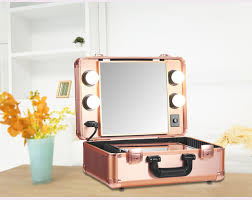 makeup luggage with lights makeup artist train case with lights pro station portable studio box