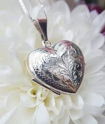necklace locket images Large sterling silver engraved heart locket necklace jpg