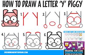 how to draw a cute kawaii cartoon pig from letter u0027y u0027 shapes