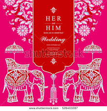 indian wedding card elephant patterned gold stock vector 526403122