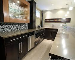 recycled countertops white wooden laminated floor quartz island