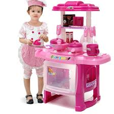 pro pink kids kitchen cooking pretend role toy play set lights