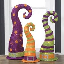 set of 3 lighted sparkling sisal purple orange and green witches