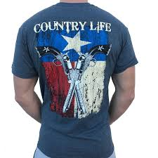 Texas Flag For Sale Country Life Texas Flag And Guns Gray Short Sleeve Shirt On Sale