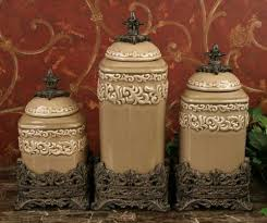 Kitchen Decorative Canisters by Tuscan Old World Drake Design Medium Taupe Canisters Set Of 3