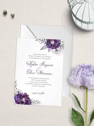 wedding invitation greetings purple affection wedding invitation purple flowers wedding