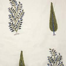 cotton fabric design 3 block printed cypress tree and foliage