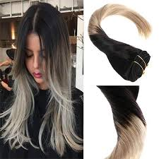 ombre hair extensions clip in clip in omber black to grey 7pcs 120g remy human hair extensions