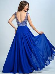 a line scoop floor length backless chiffon beaded royal blue party