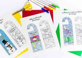 coloring winter door hangers free printable daydream into reality