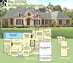 plan 51727hz flexible french country with bonus room planos