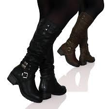 womens flat boots uk womens flat mid calf strappy metallic zip up biker