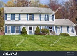 colonial style house traditional detached colonial style house stock photo